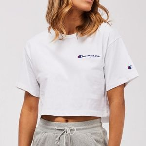 Champion White Reverse Weave Cropped Tee NWOT